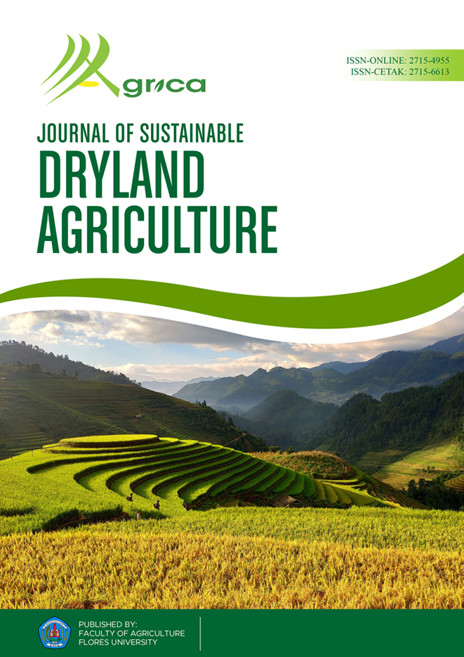 Agrica: Journal of Sustainable Dryland Agriculture is a journal that presents a platform for sharing knowledge in science and technology related to Sustainable Dryland Agriculture. Its studies are agronomy, pest and plant diseases, soil science, agricultural conservation and ecology, organic farming, agrobiodiversity, agrotourism, permaculture covering the economic aspects of dryland sustainable agriculture (agribusiness, agricultural socio-economic, agroindustry), agricultural diversification, land and water conservation, agricultural climate, food security, animal welfare concept, mechanization, science and food technology in a dryland environment.